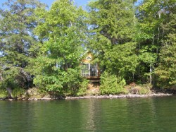 View of island and cottage from the lake